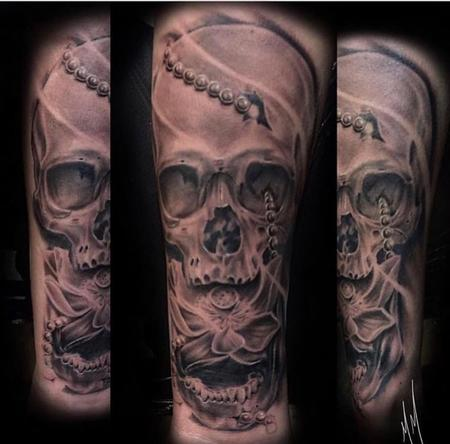 Tattoos - Black and Grey Skull with Lotus - 136132