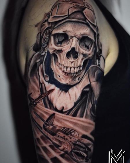 Tattoos - Matt Morrison Skeleton Bomber Pilot - 142715
