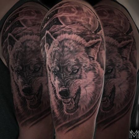 Tattoos - Black and Gray Wolf  - 136134