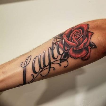 Tattoos - Rose and Script - 137270