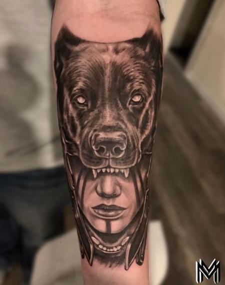 Tattoos - Matt Morrison Woman and Dog Head - 140826