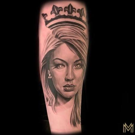 Tattoos - Black and Gray Woman Portrait Tattoo - 136125