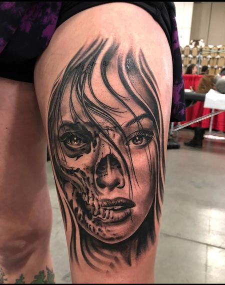 Tattoos - Oak Adams half skull Half woman face - 141696