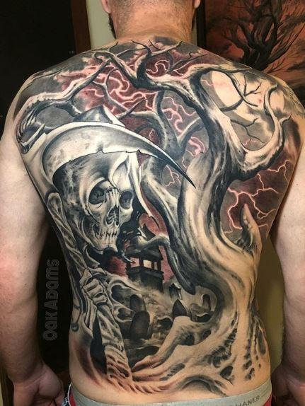 Tattoos - Oak Adams Reaper Back Piece - 140823