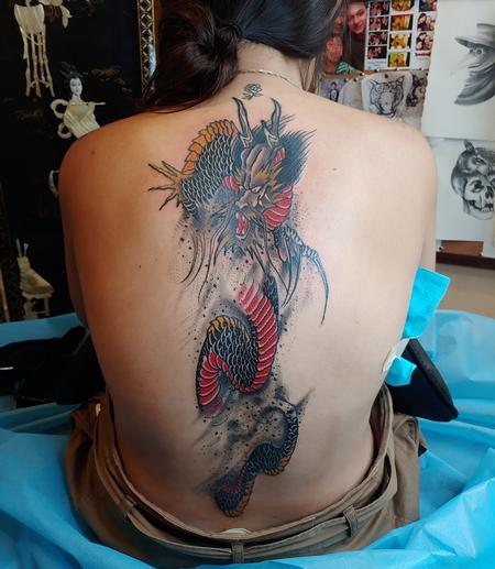 Tattoos - Quade Dahlstrom Dragon Back - 141027
