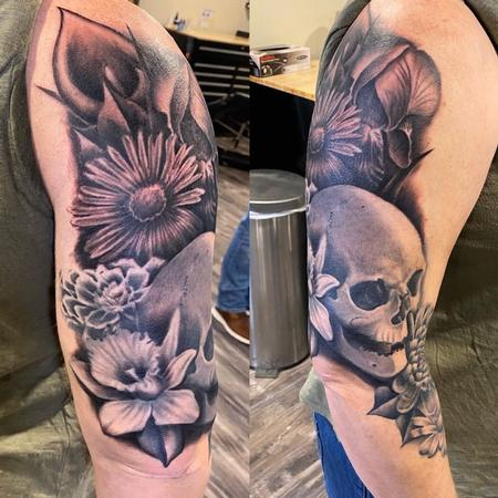 Tattoos - Ryan Cumberledge Flowers and Skull - 141053