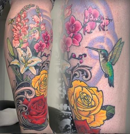 Tattoos - Tori Loke Floral humming bird - 138803