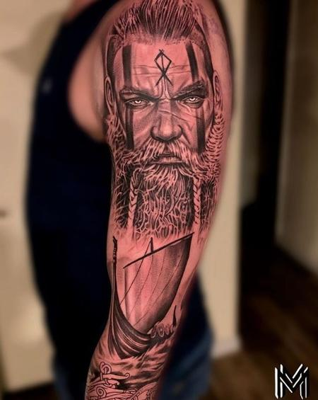 Tattoos - Matt Morrison Viking Portrait and Ship Sleeve - 141702