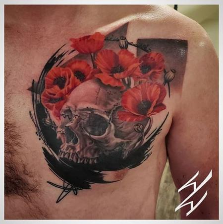 Walt Watts - Walt Watts Abstract Skull and Flowers