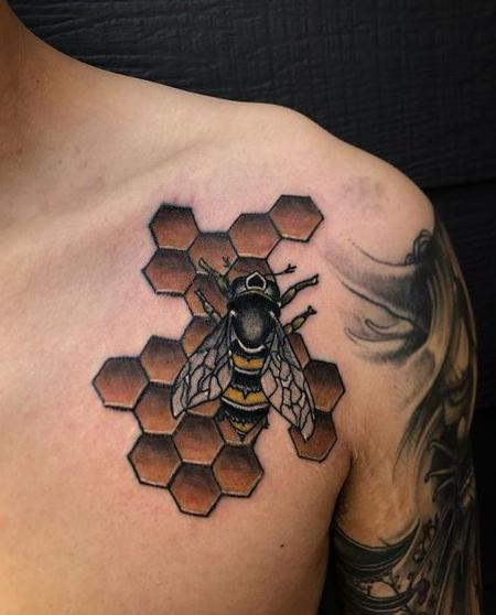Tattoos - Bee and Honeycomb Tattoo - 136161