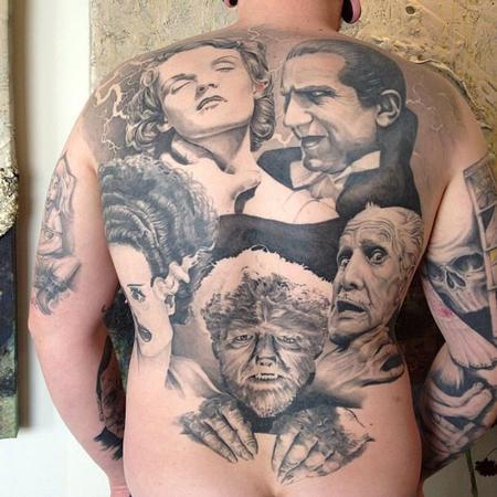 Tattoos - Classic Horror Movie Portraits Backpiece Tattoo - 134556