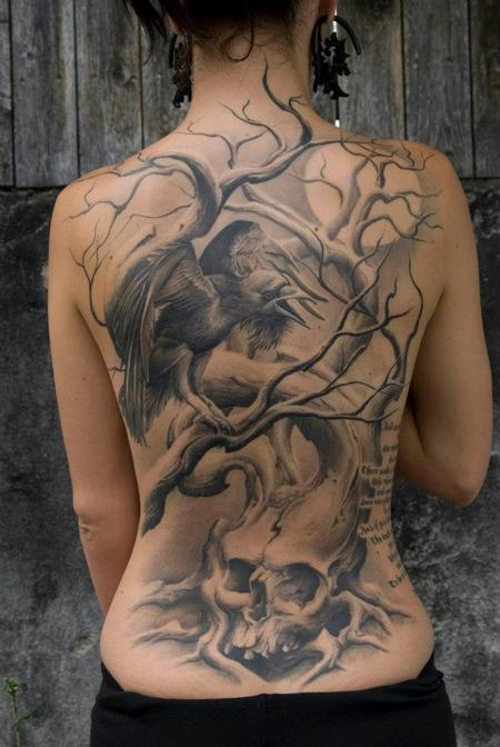 Tattoos - Crow and Skull Back Tattoo - 134555