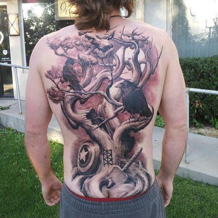 Tattoos - Crow and Tree Back Tattoo - 134554