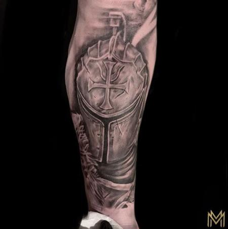 Tattoos - Black and Grey Knight Tattoo - 137420