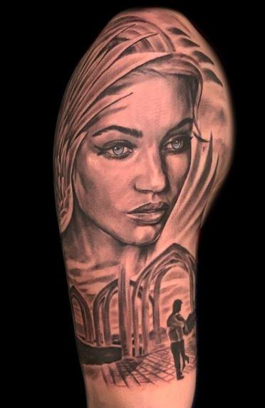Tattoos - Black and Gray Woman Portrait - 137676