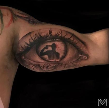 Matt Morrison - Black and Gray Eye Tattoo