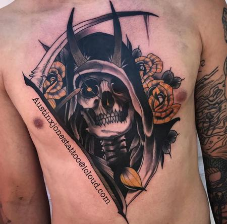 Reaper and Roses Chest Tattoo