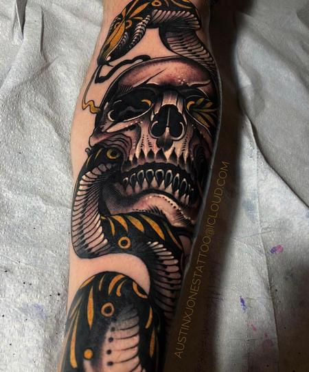 Skull and Snake Tattoo