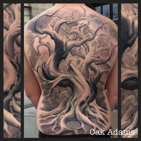 Tattoos - Black and Gray Tree Backpiece Tattoo - 134548