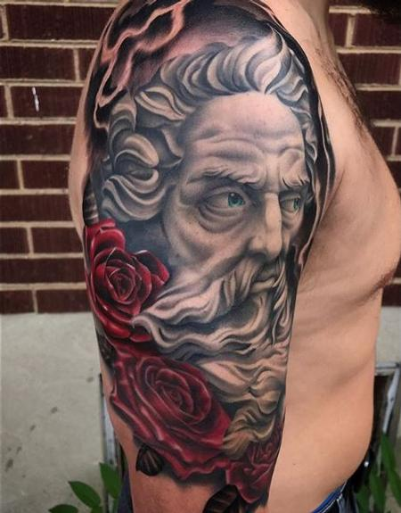 Tattoos - Roses and Portrait - 136143