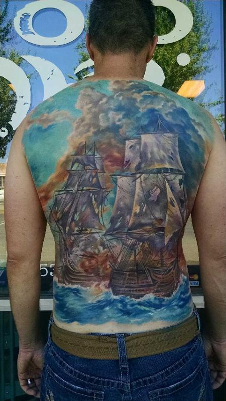 Tattoos - Battleship Back Tattoo - 128610