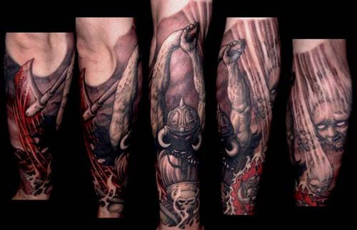 Tattoos - Horned demon with battle axe tattoo - 28913