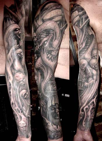Tattoos - Dragon and demons sleeve tattoo - 28917