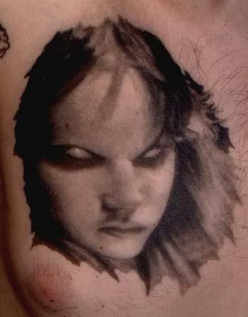Tattoos - Creepy black and gray girl portrait tattoo - 28922