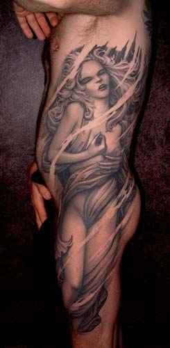 Tattoos - Black and gray woman full side tattoo - 28924