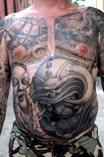 Tattoos - Horned helmet demon stomach tattoo - 28927