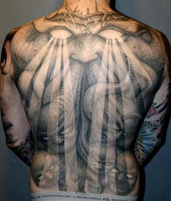 Tattoos - Crown of thorns demon back piece tattoo - 28914
