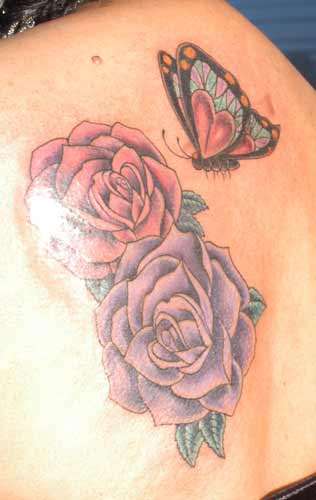 Tattoos - roses and butterfly - 21945