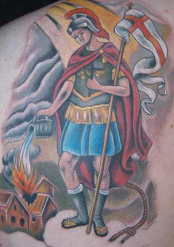 Tattoos - firefighter saint - 21950
