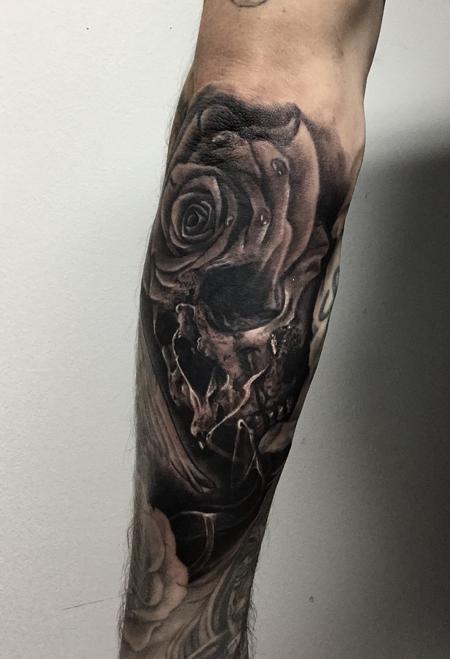 Tattoos - Rose-skull Moprh - 131709
