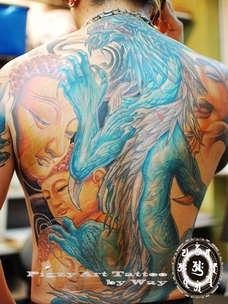 Tattoos - Color Buddha Backpiece  - 60505