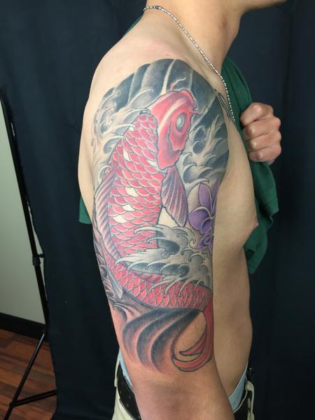 Tattoos - Colored koi arm - 106825