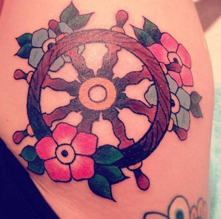 Tattoos - Spoked Wheel and flowers. - 70728