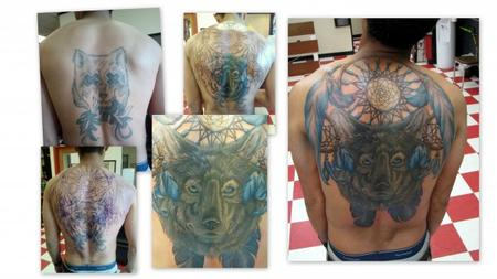 Tattoos - Wolf back coverup - 78916