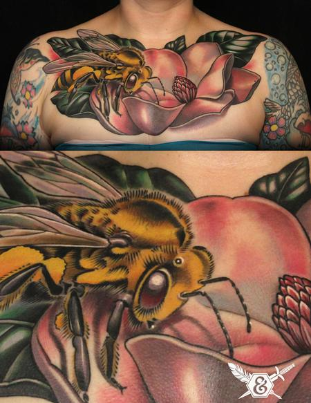 Tattoos - Magnolia and bee - 70070
