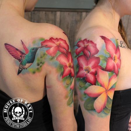 Tattoos - Hummingbird and flowers - 101352