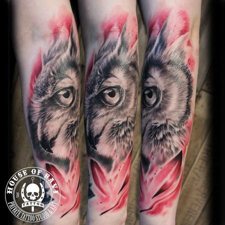 Tattoos - Pink owl - 100619