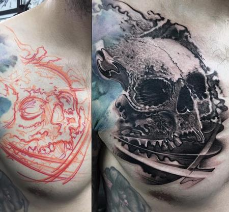 Tattoos - Skull Chest Tattoo - 140406