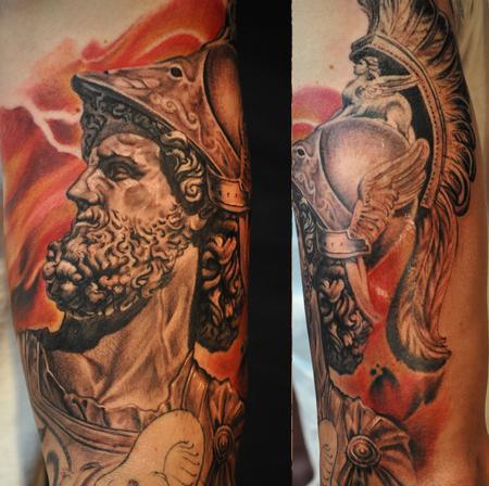 Tattoos - Ares god of war statue portrait , greek sleeve - 91177