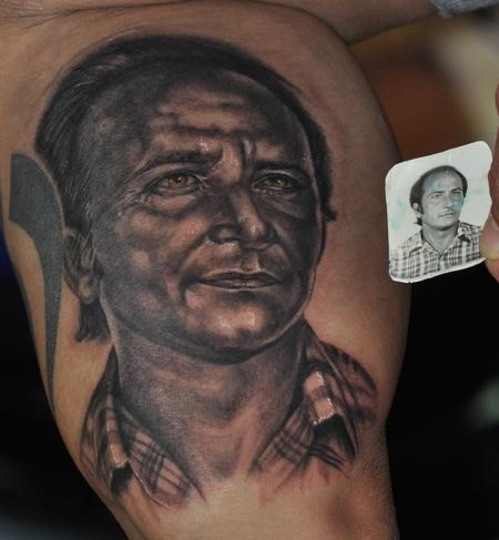 Tattoos - black and grey portrait of Gio's father - 97718