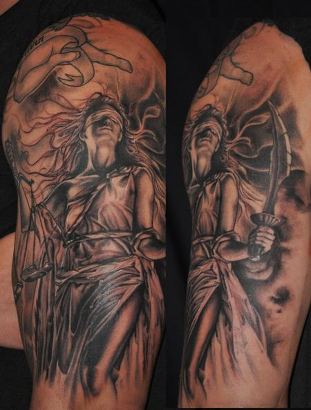 Tattoos - Lady Justice  in black and grey - 85958