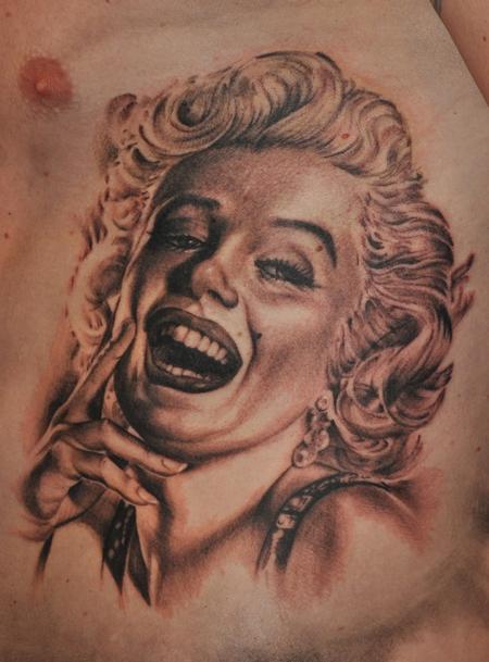 Tattoos - marilyn monroe  realistic portrait in black and grey - 91617