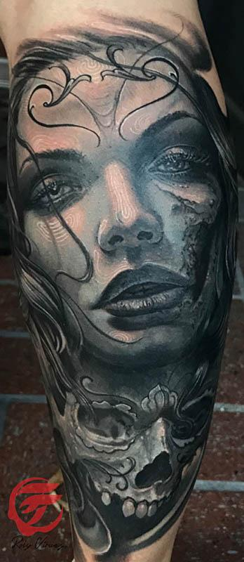 Tattoos - Day of the dead woman tattoo with skull in black and grey  - 126690