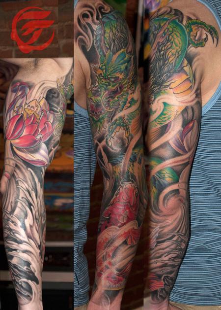 Tattoos - Dragon and koi sleeve japanese style - 77860