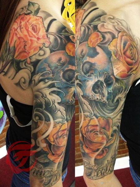 Tattoos - skull and roses sleeve - 75657