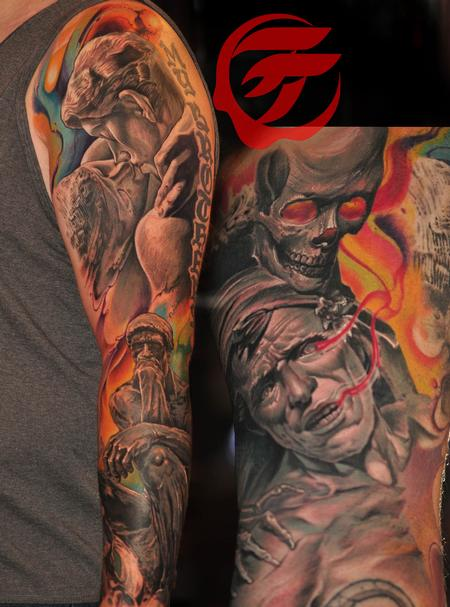 Tattoos - stone works and flowing colors by Roly Viruez - 126421